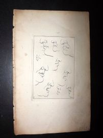 Sayer Compleat Drawing-Book 1757 Antique Print. Studies of Noses & Lips 03